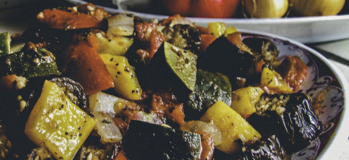 Veggie Entree Recipe: Rough-Cut Ratatouille Featuring Organic Heirloom Garden Vegetables