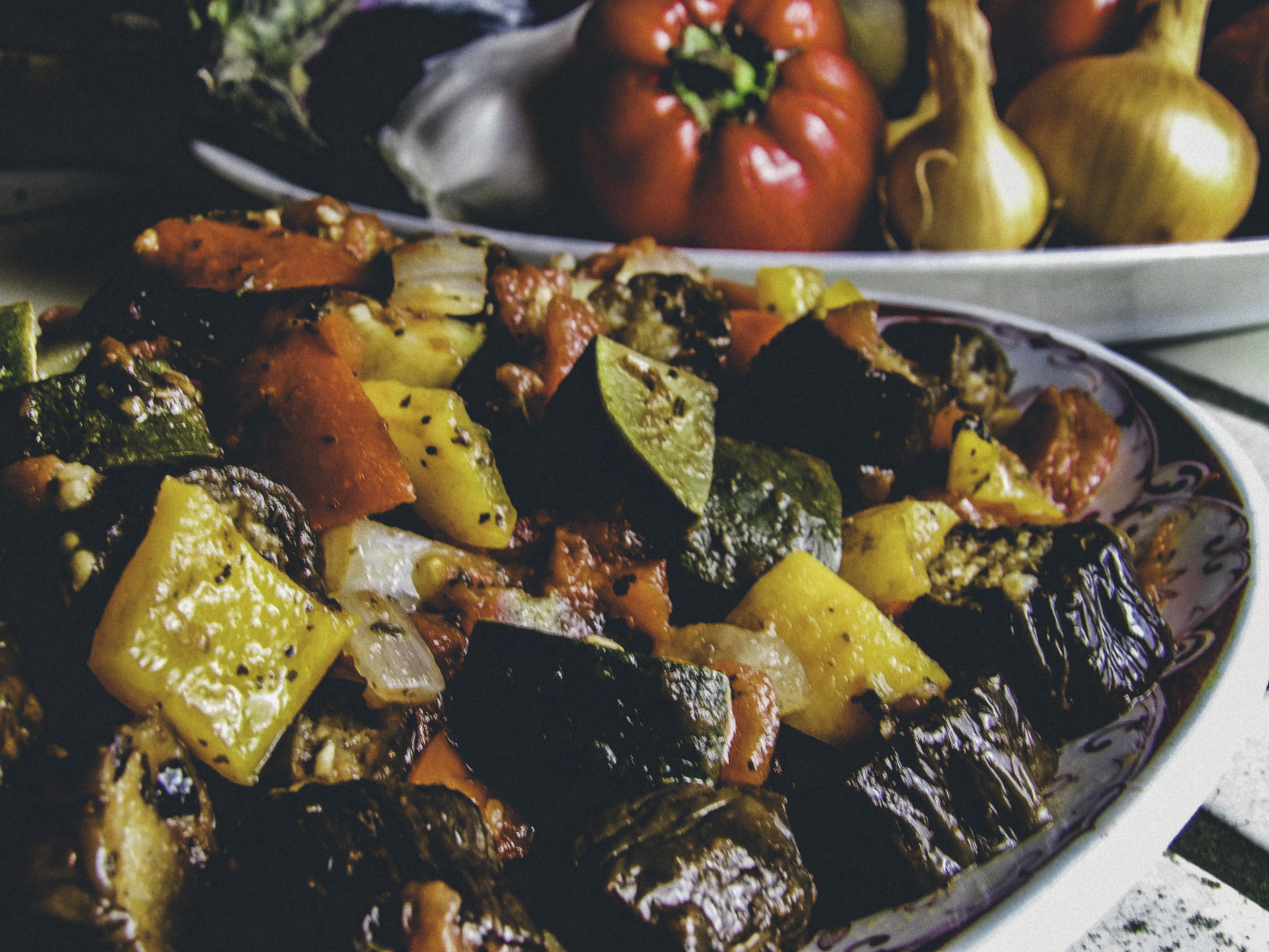 Veggie Entree Recipe: Rough-Cut Ratatouille Featuring Organic Heirloom Garden Veggies