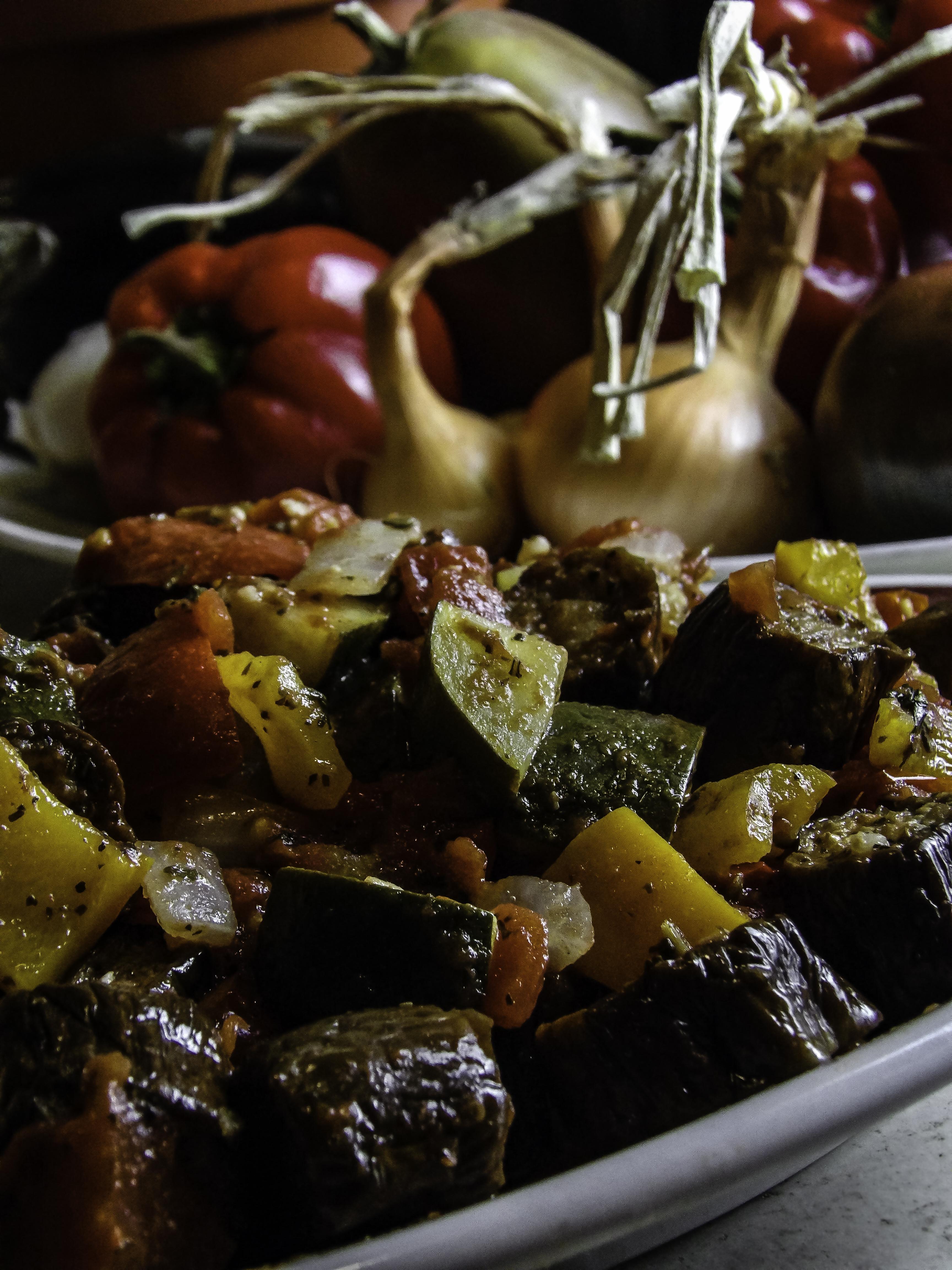 Rough-Cut Ratatouille Featuring Organic Heirloom Garden Veggies